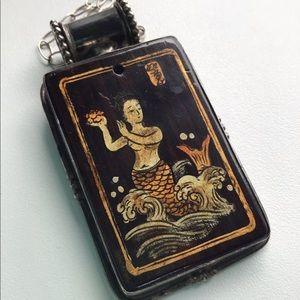 Sterling Japanese Mermaid Sea Painted Art Necklace